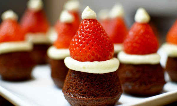 Mini Santa Hat Brownies