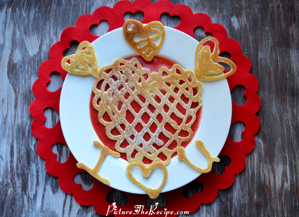 Valentines Day Breakfast: Lace Heart Pancakes With Strawberry Sauce