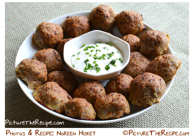 Herbed Turkey Meatballs With Garlic Dipping Sauce | Picture the Recipe