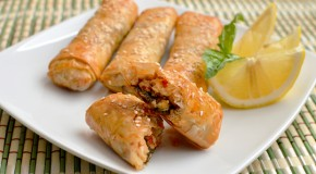 Thai Basil Chicken Phyllo Rolls