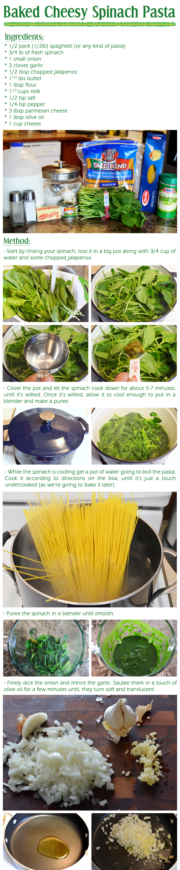 Baked Cheesy Spinach Pasta Recipe Part-1