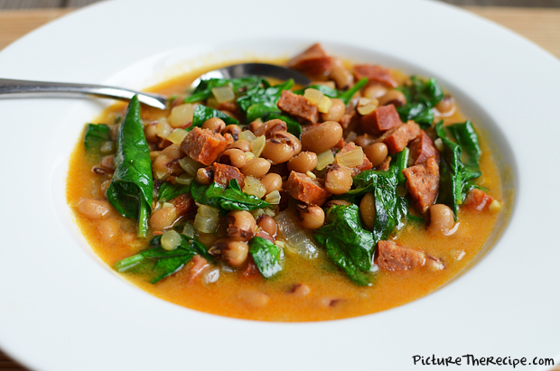 Curried Black-eyed Peas With Sausage & Spinach