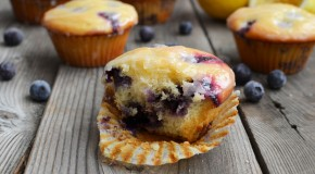 Lemon-Glazed Blueberry Yogurt Muffins