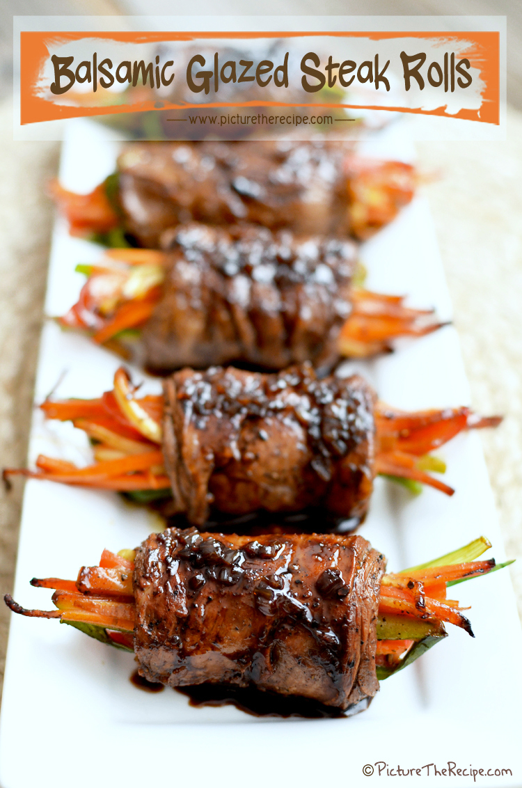 Balsamic Glazed Steak Rolls by PitcureTheRecipe.com