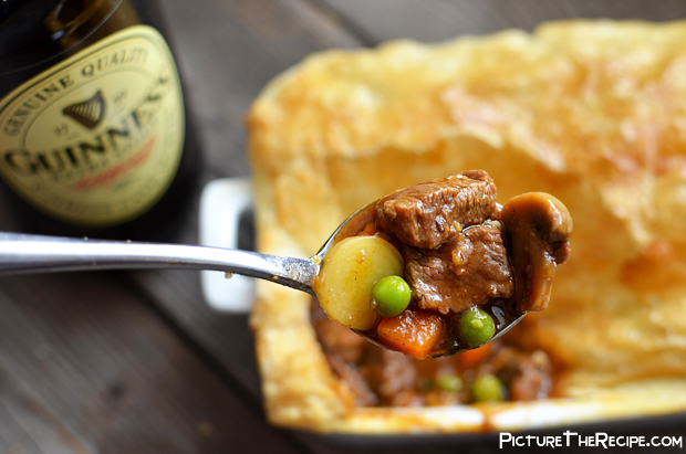 Guinness Beef Pot Pie Spoon Closeup | Picture the Recipe