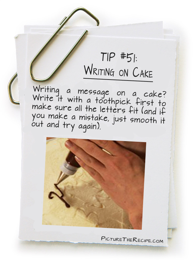 Picture The Recipe Tips - Writing on Cake
