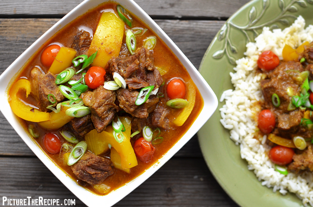 Beef In Coconut Curry Sauce - Bowl (PictureTheRecipe)