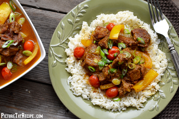 Beef In Coconut Curry Sauce - Plate (PictureTheRecipe)