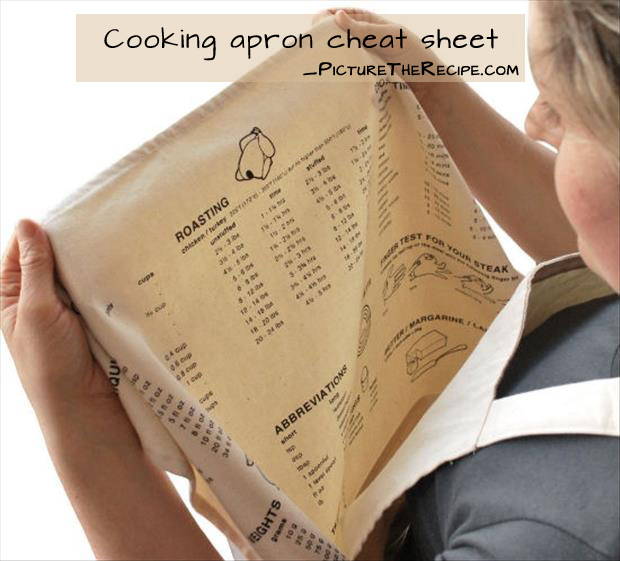 Genius Cooking Ideas- cooking apron simple cheat sheet