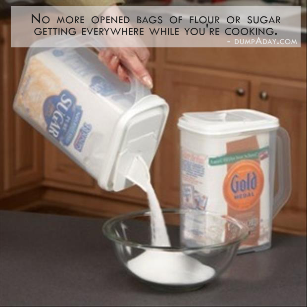 Genius Ideas- no more opened bags of flour or sugar getting everywhere while you're cooking