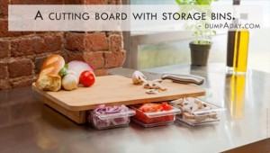 Genius Kicthen Ideas- cutting board with storage bins