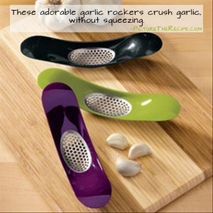 Genius Kitchen Ideas- Garlic Rocker crushes garlic without squeezing