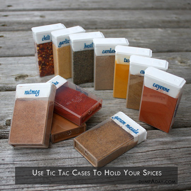 Genius Kitchen Ideas- a use tic tac cases to hold your spices