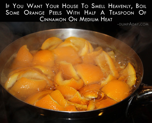 If you want your house to smell heavenly, boil some orange peels with a half a  teaspoon of cinnamon on Medium heat