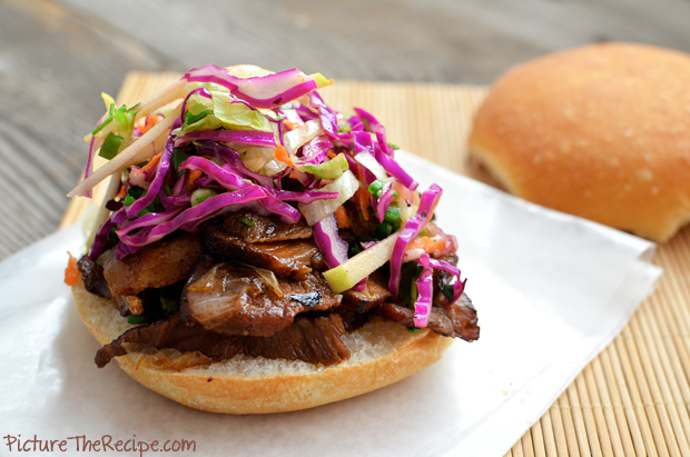 Sticky Caramelized Pork Sandwich with Apple-Cabbage Slaw -PTR