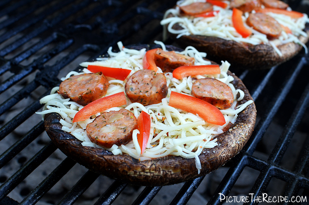 Portobello Mushroom Pizzas on the Grill- PictureTheRecipe