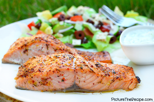 greek marinated salmon with tzatziki sauce picture the