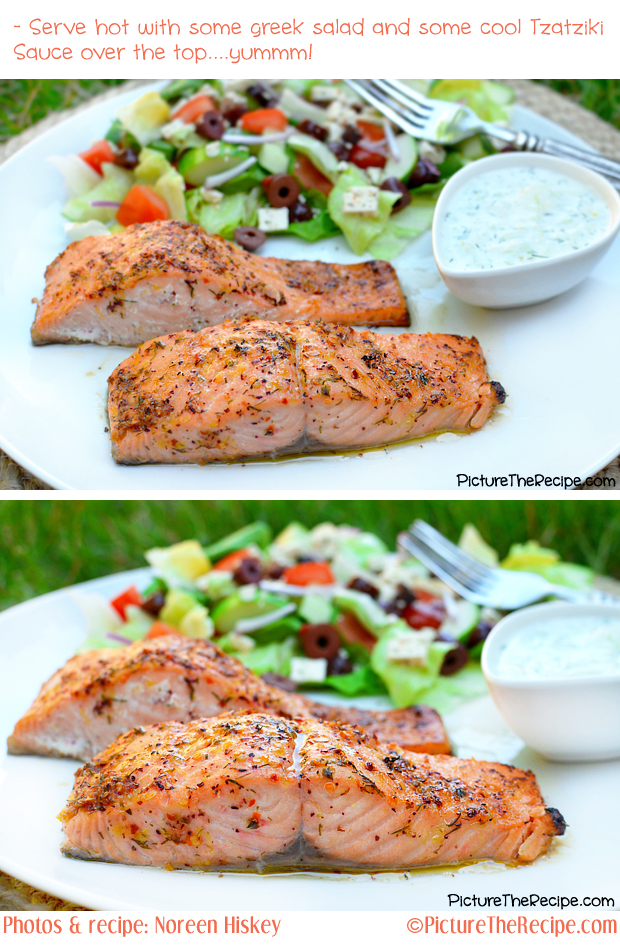 Greek Marinated Salmon by Picture The Recipe