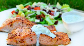 Greek Marinated Salmon with Tzatziki Sauce