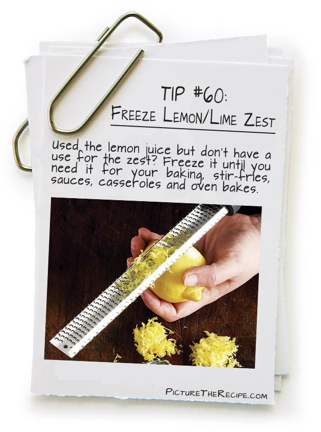 Picture The Recipe Tips - Freeze lemon zest