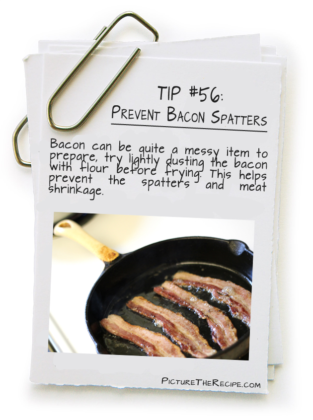 Picture The Recipe Tips - Prevent Bacon Splatters