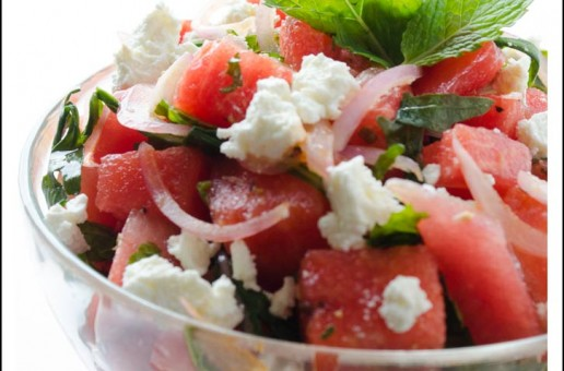 Watermelon Salad with Arugula, Mint and Feta