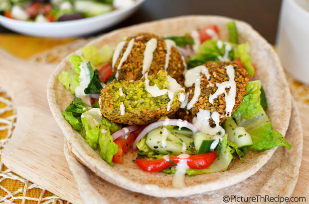 Falafel Pita With Turkish Salad And Tahini Sauce Picture The Recipe