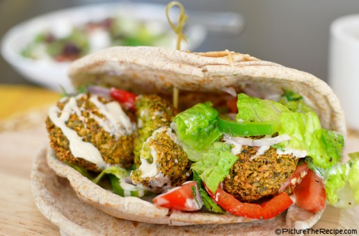 Falafel Pita With Turkish Salad and Tahini Sauce