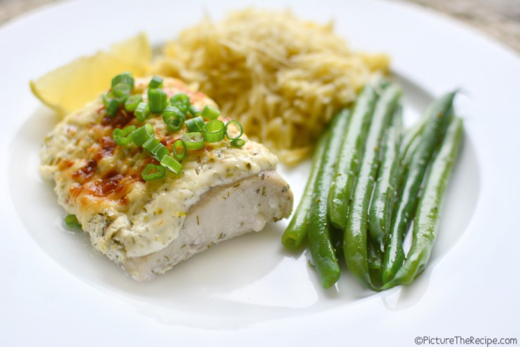 Baked Fish with Dill Sour Cream Topping - PictureTheRecipe