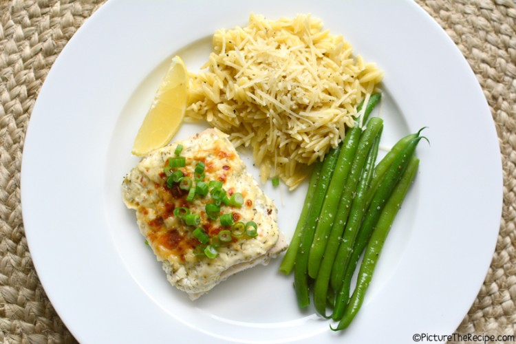 Baked Fish with Dill Sour Cream and Parmesan Topping by PictureTheRecipe