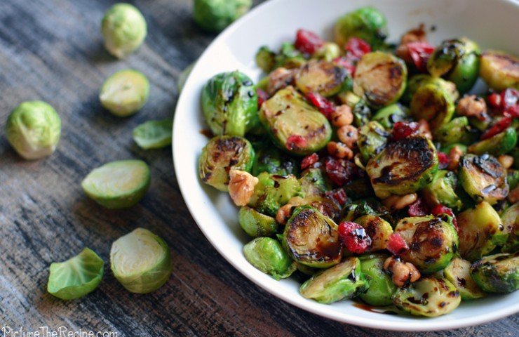 Brussels Sprouts With Cranberries and A Balsamic Drizzle