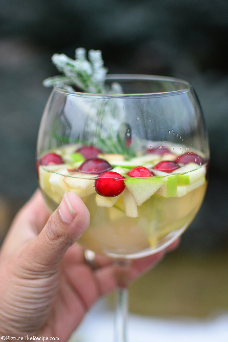 White Holiday Sangria with Gingerale- PictureTheRecipe