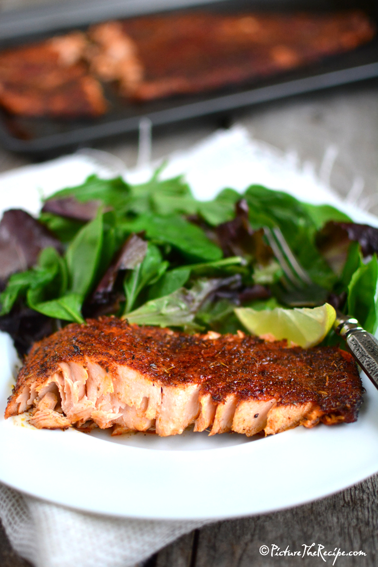 Blackened salmon with homemade seasoning picture the for Blackening seasoning for fish