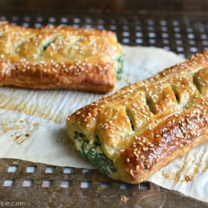 Spinach Puff Pastry Rolls with Feta and Ricotta by PictureTheRecipe com