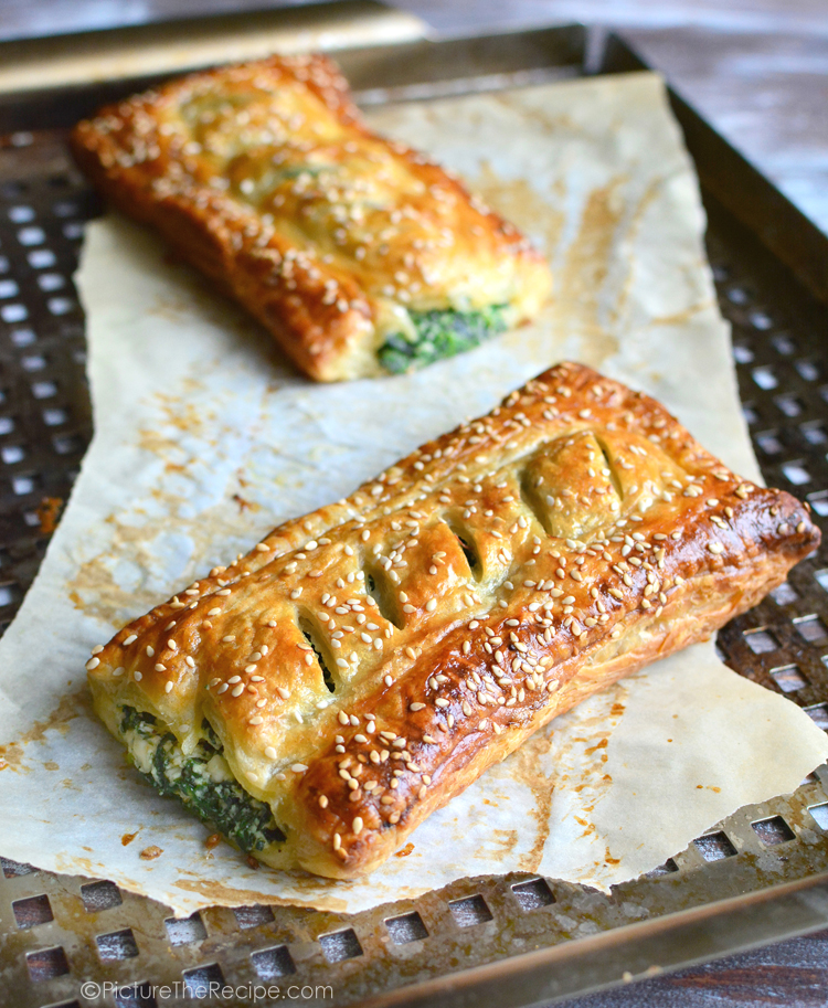 A low-key, low-stress Thanksgiving - Spinach with feta and ricotta puff pastry rolls