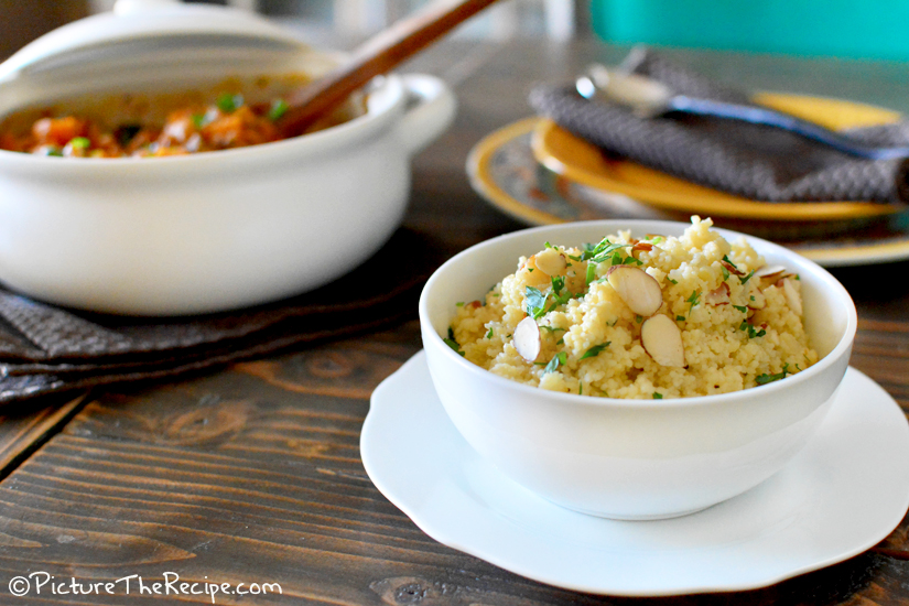 Lemon Herb Couscous with Almonds by PictureTheRecipe.com
