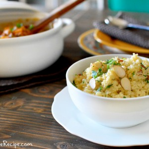Lemon Herb Couscous with Almonds by PictureTheRecipe com
