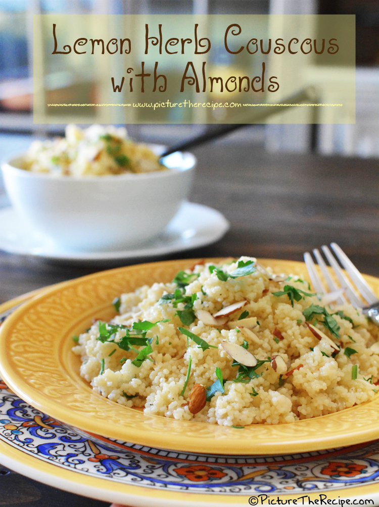 Lemon Parsley Couscous with Almonds by PictureTheRecipe.com