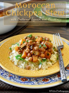 Moroccan Chickpea Stew with Butternut Squash and Zucchini by PictureTheRecipe com