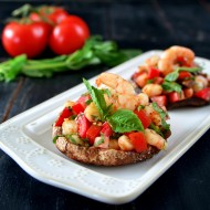 Roasted Portobello Topped with Spicy Shrimp Bruschetta (Paleo/Whole30)