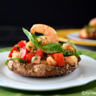 ROASTED PORTOBELLO TOPPED WITH SPICY SHRIMP BRUSCHETTA