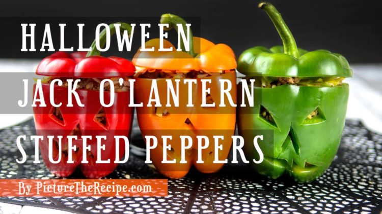 Halloween Jack O-Lantern Stuffed Peppers