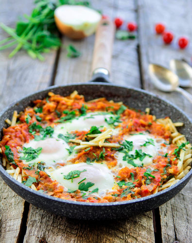 Indian Style Shakshouka on Crispy Potato Straws (Parsi- Sali Par Edu)