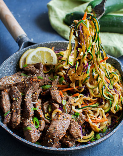 Chili- Garlic Beef with Stir Fry Zoodles