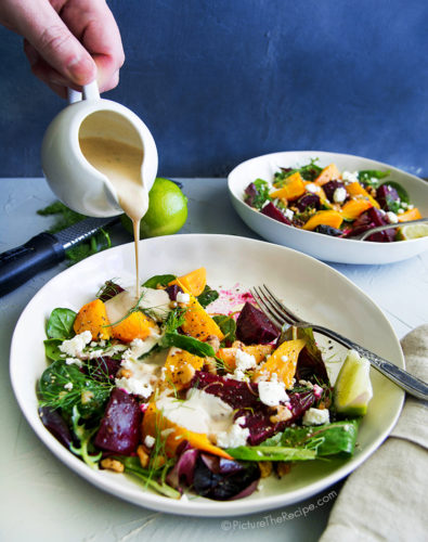 Beet Salad with Goat Cheese, Walnuts and Citrus Tahini Dressing
