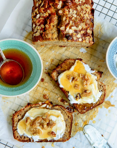 Banana Bread with Honey, Oats & Walnuts