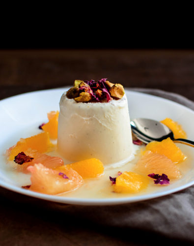 Vanilla-Cardamom Kulfi with Citrus Rose Syrup