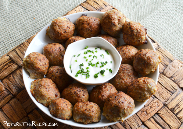 Herbed Turkey Meatballs With Garlic Dipping Sauce