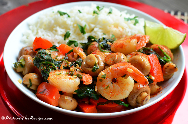 Lime Shrimp with Mushrooms & Spinach