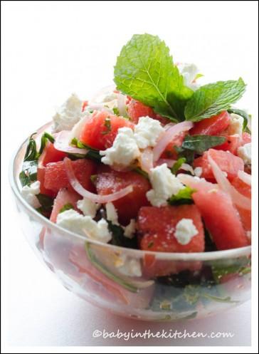 Watermelon Salad with Arugula, Mint and Feta